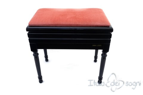 "Small Bench for Piano ""Carulli"" - Pink Velvet"