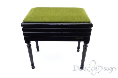"Small Bench for Piano ""Carulli"" - Green Velvet"