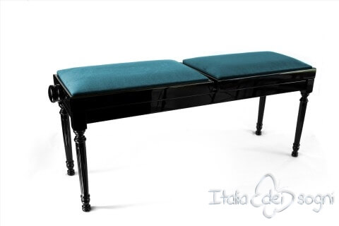 "Small Bench for Piano ""Pergolesi"" - Light Blue Velvet"