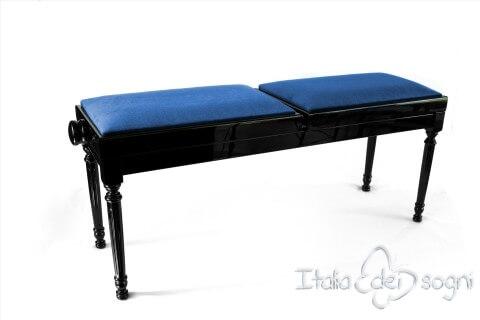 """Small Bench for Piano """"Pergolesi"""" - Blue Velvet"""