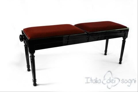 "Small Bench for Piano ""Pergolesi"" - Bordeaux Velvet"