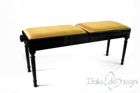 "Small Bench for Piano ""Pergolesi"" - Hazelnut Velvet"