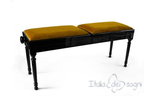 "Small Bench for Piano ""Pergolesi"" - Gold Velvet"