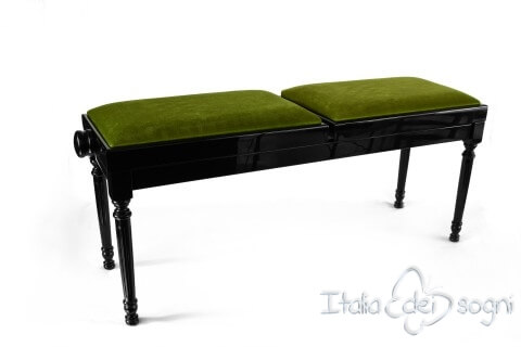 "Small Bench for Piano ""Pergolesi"" - Green Velvet"