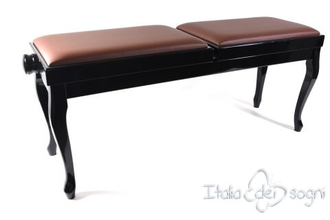 "Small Bench for Piano ""Clementi"" - Real Leather Brown"