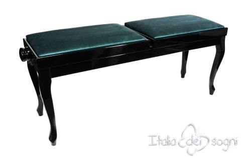 "Small Bench for Piano ""Clementi"" - Light Blue Velvet"