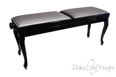 "Small Bench for Piano ""Clementi"" - Gray Velvet"