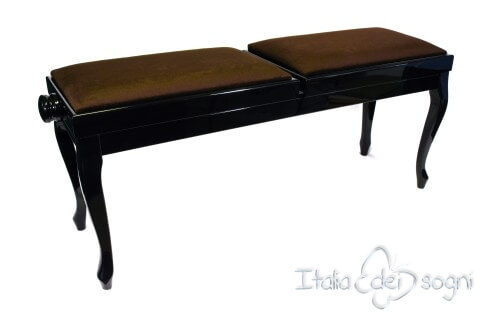 "Small Bench for Piano ""Clementi"" - Brown Velvet"