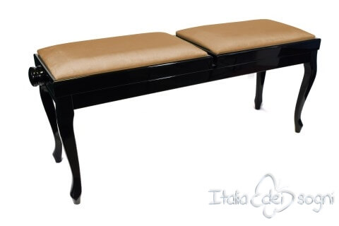 "Small Bench for Piano ""Clementi"" - Hazelnut Velvet"