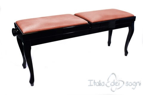 "Small Bench for Piano ""Clementi"" - Pink Velvet"