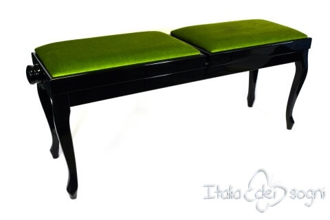 "Small Bench for Piano ""Clementi"" - Green Velvet"