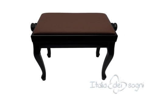 "Small Bench for Piano ""Vivaldi"" - Real Leather Brown"