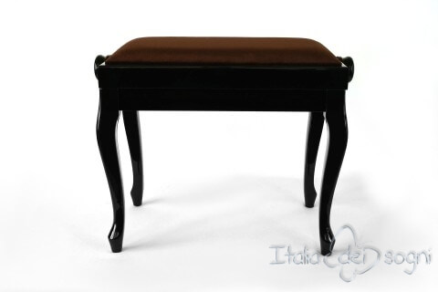 "Small Bench for Piano ""Vivaldi"" - Brown Velvet"
