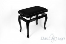 "Small Bench for Piano ""Vivaldi"" - Black Velvet"