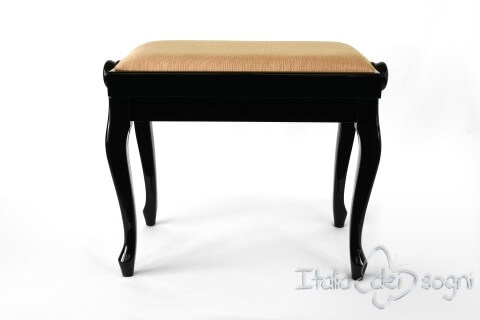 "Small Bench for Piano ""Vivaldi"" - Hazelnut Velvet"