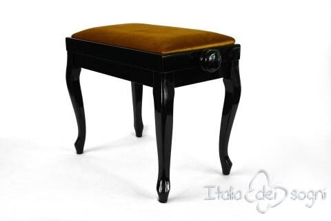 """Small Bench for Piano """"Vivaldi"""" - Gold Velvet"""