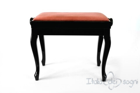 "Small Bench for Piano ""Vivaldi"" - Pink Velvet"