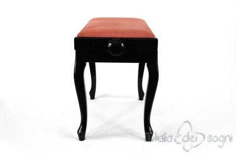 """Small Bench for Piano """"Vivaldi"""" - Pink Velvet"""