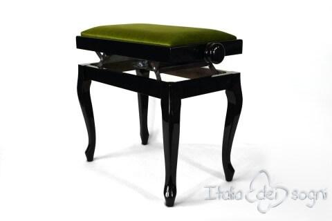 """Small Bench for Piano """"Vivaldi"""" - Green Velvet"""