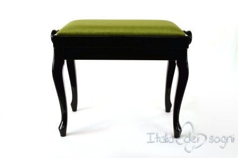 "Small Bench for Piano ""Vivaldi"" - Green Velvet"