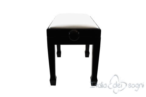 """Small Bench for Piano """"Fiorentino"""" - Real Leather White"""