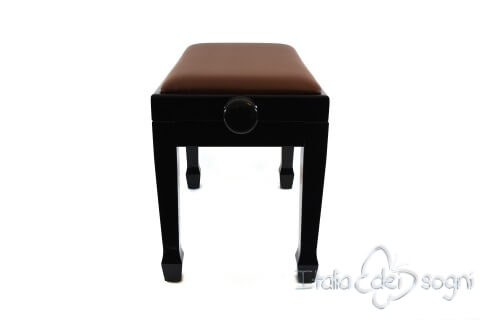 "Small Bench for Piano ""Fiorentino"" - Real Leather Brown"