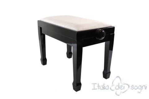 "Small Bench for Piano ""Fiorentino"" - Gray Velvet"