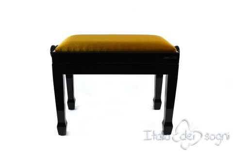 "Small Bench for Piano ""Fiorentino"" - Gold Velvet"