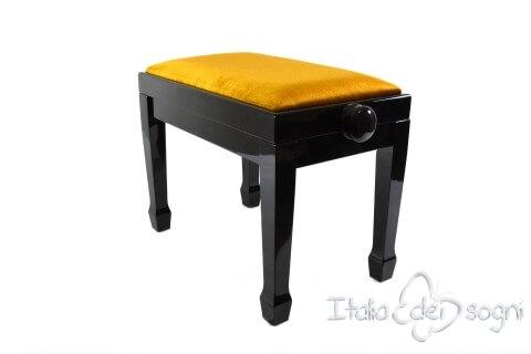 "Small Bench for Piano ""Fiorentino"" - Gold Velvet"