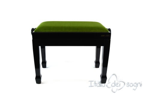 "Small Bench for Piano ""Fiorentino"" - Green Velvet"