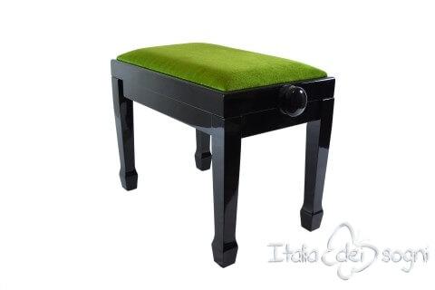 "Small Bench for Piano ""Fiorentino"" - Green Velvet"