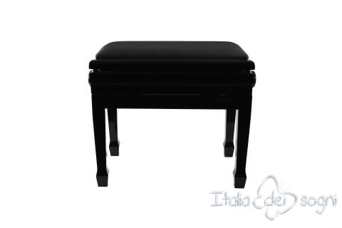 "Small Bench for Piano ""Flores"" - Real Leather Black"
