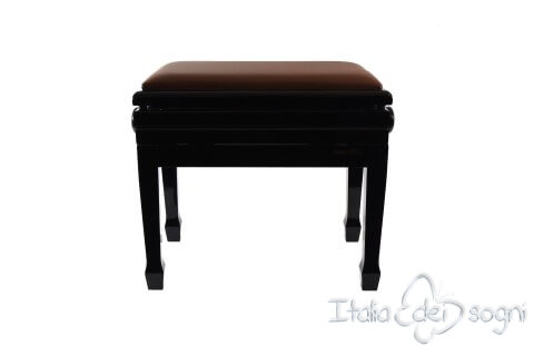 "Small Bench for Piano ""Flores"" - Real Leather Brown"