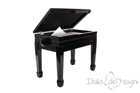 """Small Bench for Piano """"Flores"""" - Real Leather Brown"""