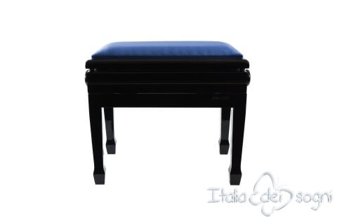 "Small Bench for Piano ""Flores"" - Blue Velvet"