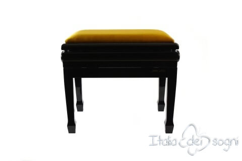 "Small Bench for Piano ""Flores"" - Gold Velvet"