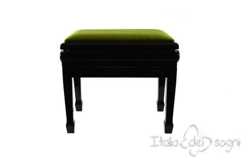 "Small Bench for Piano ""Flores"" - Green Velvet"