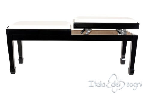 """Small Bench for Piano """"Casella"""" - Real Leather White"""