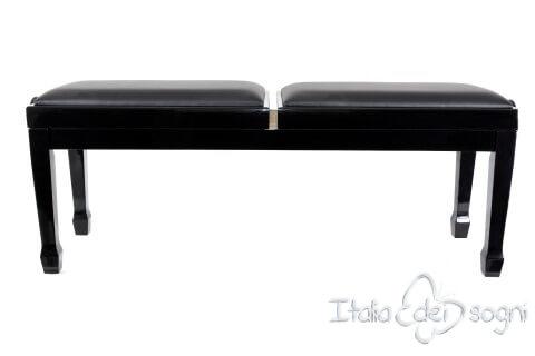 """Klavierbank """"Casella"""" - schwarz aus echtem Leder"""