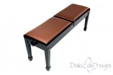 "Small Bench for Piano ""Casella"" - Real Leather Brown"