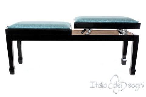 """Small Bench for Piano """"Casella"""" - Light Blue Velvet"""