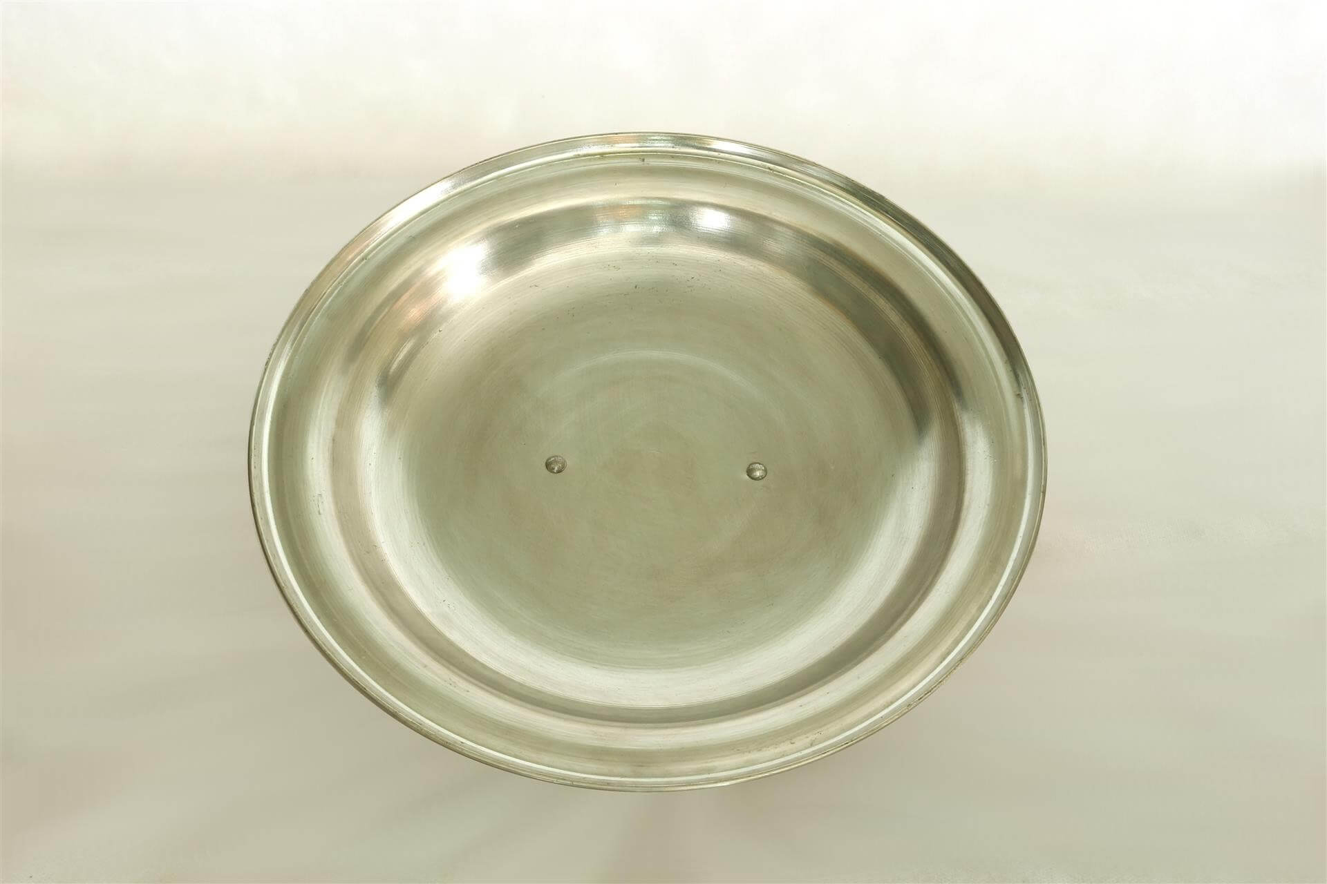 Round Lid In Tin Plated Heavy Copper With Brass Handle