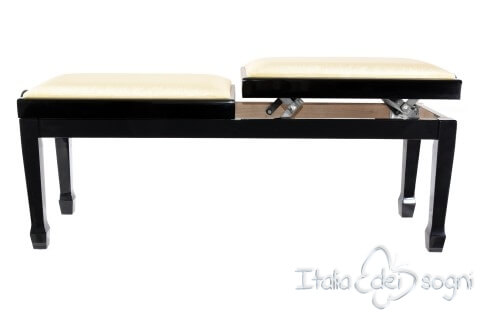 "Small Bench for Piano ""Casella"" - Beige Velvet"