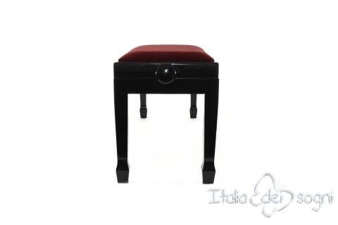 "Small Bench for Piano ""Casella"" - Bordeaux Velvet"