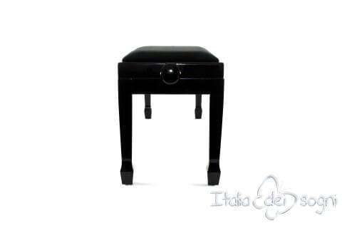 "Small Bench for Piano ""Casella"" - Black Velvet"