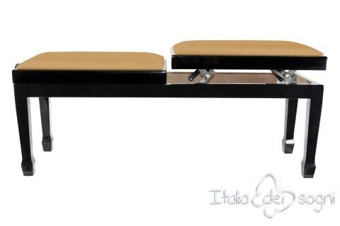 "Small Bench for Piano ""Casella"" - Hazelnut Velvet"