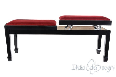 "Small Bench for Piano ""Casella"" - Red Velvet"