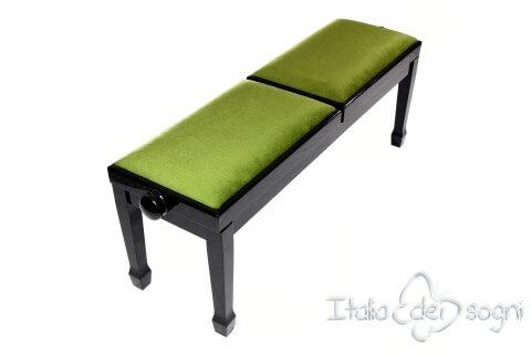 "Small Bench for Piano ""Casella"" - Green Velvet"